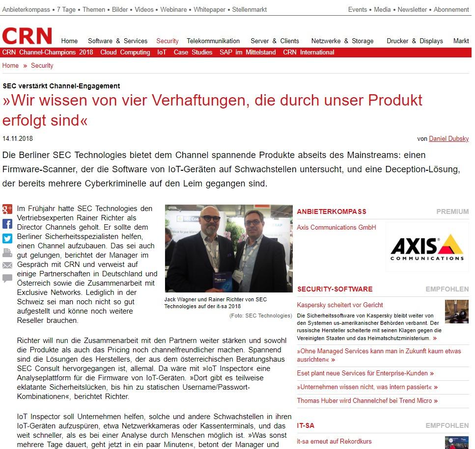 Sec Verstärkt Channel Engagement »wir Wissen Von Vier Verhaftungen Die Durch Unser Produkt Erfolgt Sind« Crn De